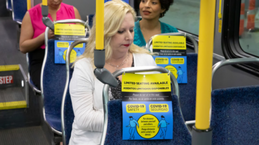 Houston Metro social distancing messages on bus seats