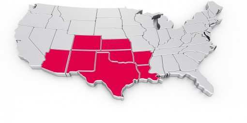 SWTA's eight states highlighted.